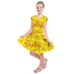 Yellow Abstract Background Kids  Short Sleeve Dress