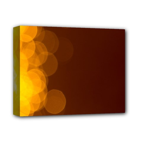 Yellow And Orange Blurred Lights Orange Gerberas Yellow Bokeh Background Deluxe Canvas 14  X 11