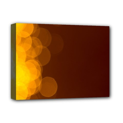 Yellow And Orange Blurred Lights Orange Gerberas Yellow Bokeh Background Deluxe Canvas 16  X 12