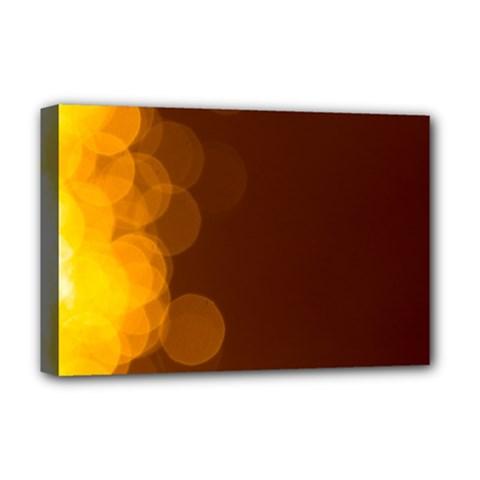 Yellow And Orange Blurred Lights Orange Gerberas Yellow Bokeh Background Deluxe Canvas 18  X 12