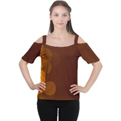 Yellow And Orange Blurred Lights Orange Gerberas Yellow Bokeh Background Women s Cutout Shoulder Tee