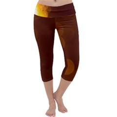 Yellow And Orange Blurred Lights Orange Gerberas Yellow Bokeh Background Capri Yoga Leggings