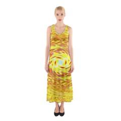 Yellow Seamless Psychedelic Pattern Sleeveless Maxi Dress