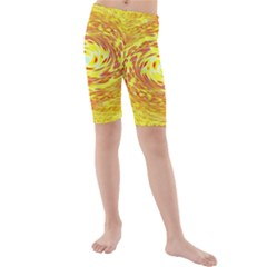 Yellow Seamless Psychedelic Pattern Kids  Mid Length Swim Shorts