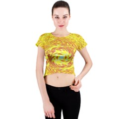 Yellow Seamless Psychedelic Pattern Crew Neck Crop Top