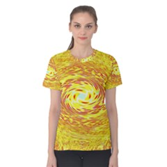 Yellow Seamless Psychedelic Pattern Women s Cotton Tee