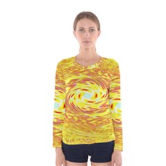 Yellow Seamless Psychedelic Pattern Women s Long Sleeve Tee