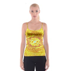 Yellow Seamless Psychedelic Pattern Spaghetti Strap Top