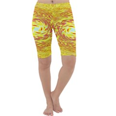 Yellow Seamless Psychedelic Pattern Cropped Leggings