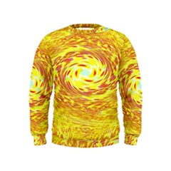 Yellow Seamless Psychedelic Pattern Kids  Sweatshirt