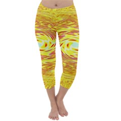 Yellow Seamless Psychedelic Pattern Capri Winter Leggings