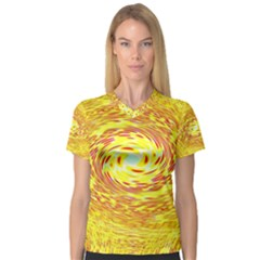 Yellow Seamless Psychedelic Pattern Women s V Neck Sport Mesh Tee