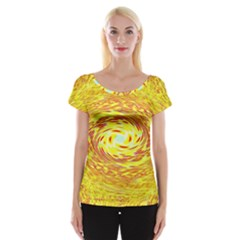 Yellow Seamless Psychedelic Pattern Women s Cap Sleeve Top