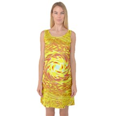 Yellow Seamless Psychedelic Pattern Sleeveless Satin Nightdress
