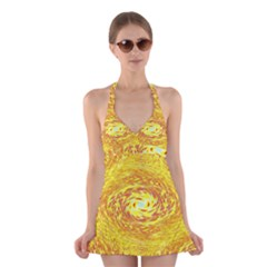 Yellow Seamless Psychedelic Pattern Halter Swimsuit Dress