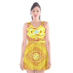 Yellow Seamless Psychedelic Pattern Scoop Neck Skater Dress