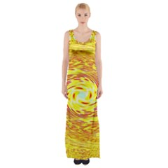 Yellow Seamless Psychedelic Pattern Maxi Thigh Split Dress