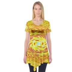 Yellow Seamless Psychedelic Pattern Short Sleeve Tunic