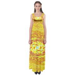 Yellow Seamless Psychedelic Pattern Empire Waist Maxi Dress