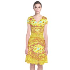 Yellow Seamless Psychedelic Pattern Short Sleeve Front Wrap Dress