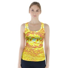 Yellow Seamless Psychedelic Pattern Racer Back Sports Top