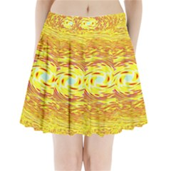 Yellow Seamless Psychedelic Pattern Pleated Mini Skirt
