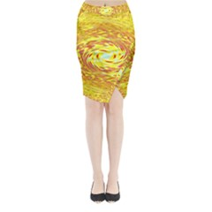 Yellow Seamless Psychedelic Pattern Midi Wrap Pencil Skirt