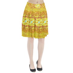 Yellow Seamless Psychedelic Pattern Pleated Skirt