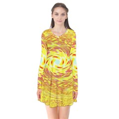 Yellow Seamless Psychedelic Pattern Flare Dress