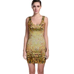 Yellow And Black Stained Glass Effect Sleeveless Bodycon Dress