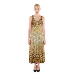 Yellow And Black Stained Glass Effect Sleeveless Maxi Dress
