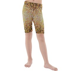 Yellow And Black Stained Glass Effect Kids  Mid Length Swim Shorts