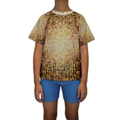 Yellow And Black Stained Glass Effect Kids  Short Sleeve Swimwear