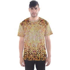Yellow And Black Stained Glass Effect Men s Sport Mesh Tee
