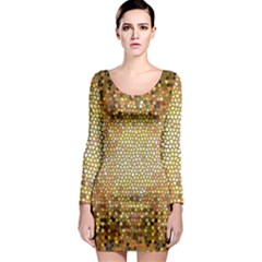 Yellow And Black Stained Glass Effect Long Sleeve Bodycon Dress