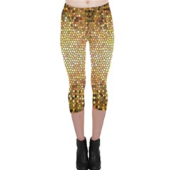 Yellow And Black Stained Glass Effect Capri Leggings