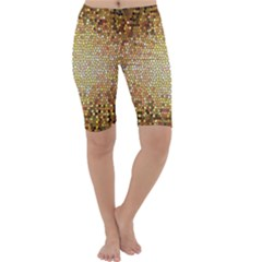 Yellow And Black Stained Glass Effect Cropped Leggings