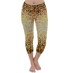Yellow And Black Stained Glass Effect Capri Winter Leggings
