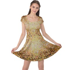 Yellow And Black Stained Glass Effect Cap Sleeve Dresses