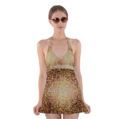 Yellow And Black Stained Glass Effect Halter Swimsuit Dress