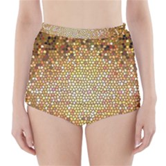 Yellow And Black Stained Glass Effect High Waisted Bikini Bottoms