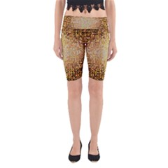 Yellow And Black Stained Glass Effect Yoga Cropped Leggings