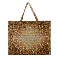 Yellow And Black Stained Glass Effect Zipper Large Tote Bag