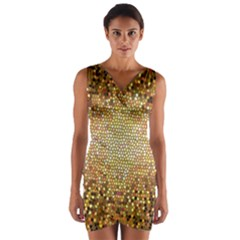 Yellow And Black Stained Glass Effect Wrap Front Bodycon Dress