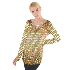 Yellow And Black Stained Glass Effect Women s Tie Up Tee