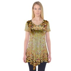 Yellow And Black Stained Glass Effect Short Sleeve Tunic