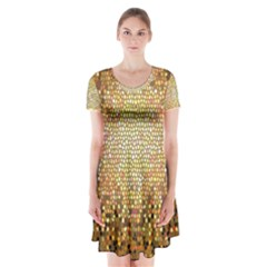 Yellow And Black Stained Glass Effect Short Sleeve V-neck Flare Dress