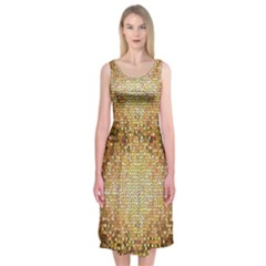 Yellow And Black Stained Glass Effect Midi Sleeveless Dress