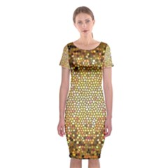 Yellow And Black Stained Glass Effect Classic Short Sleeve Midi Dress