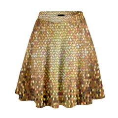 Yellow And Black Stained Glass Effect High Waist Skirt